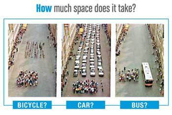 Cars Versus Bikes Versus Bus a bicycle car and a bus