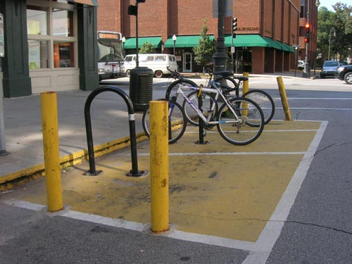 """<strong>On-street bicycle parking in Savannah, GA.</strong><br />(c) Reconnecting America 