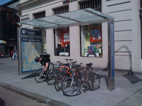"""<strong>New York City includes a bicycle map within all bicycle shelters.</strong><br />(c) Treehugger.com 
