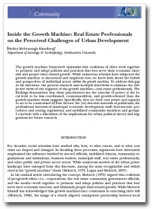 Inside the Growth Machine: Real Estate Professionals on the Perceived Challenges of Urban Development